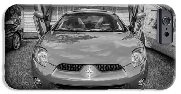 Concept iPhone Cases - 2006 Mitsubishi Eclipse GT V6 Painted BW iPhone Case by Rich Franco