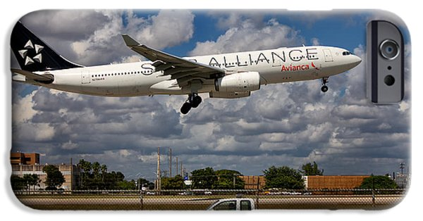 Star Alliance Photographs iPhone Cases - Avianca A-330 Airbus  iPhone Case by Rene Triay Photography