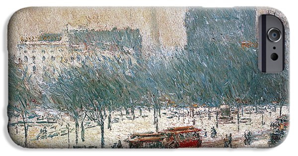 Horse And Buggy iPhone Cases - Winter in Union Square iPhone Case by Childe Hassam