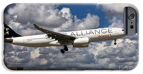 Star Alliance Photographs iPhone Cases - Airbus A-330 Avianca Airlines iPhone Case by Rene Triay Photography