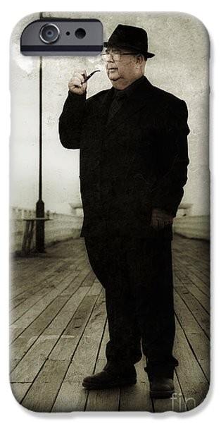 Mystifying iPhone Cases - 50s Detective Smoking Pipe iPhone Case by Ryan Jorgensen