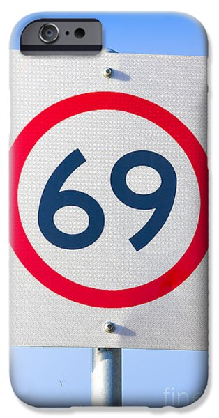 Symbology iPhone Cases - 69 Road Sign On The Highway Of Love iPhone Case by Ryan Jorgensen
