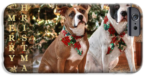 Puppy Digital iPhone Cases - A Bubba and Kensie Christmas iPhone Case by Shelley Neff
