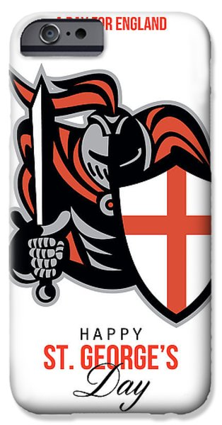 A Day for England Happy St George Greeting Card iPhone Case by Aloysius Patrimonio
