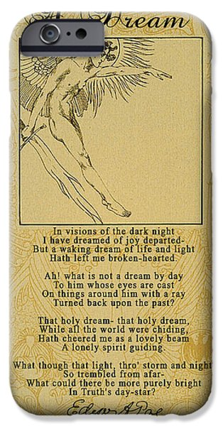 Autographed Digital Art iPhone Cases - A Dream by Edgar Allan Poe iPhone Case by Scarebaby Design