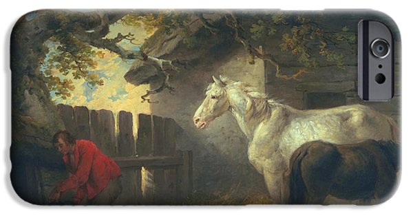 Laborers iPhone Cases - A farmyard iPhone Case by George Morland