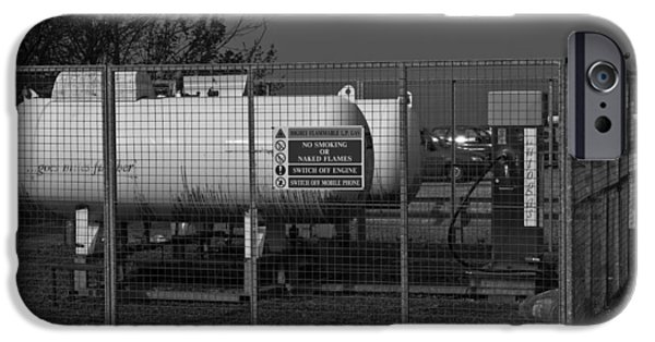Lpg iPhone Cases - A large tank carrying LP gas protected by a metal fence around it iPhone Case by Ashish Agarwal