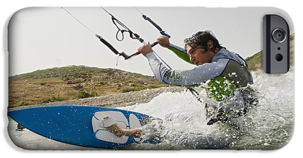 Kite Surfing iPhone Cases - A Man Kite Surfing Off The Coast Of iPhone Case by Ben Welsh