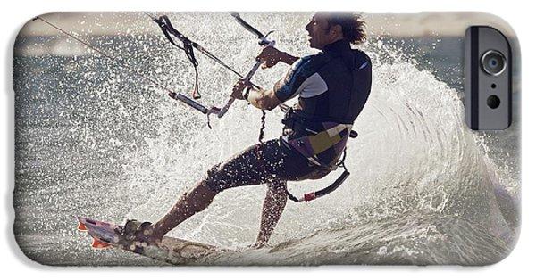 Wet Suit iPhone Cases - A Man Kitesurfing Tarifa, Cadiz iPhone Case by Ben Welsh