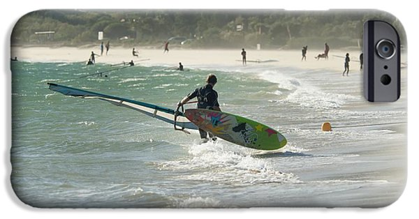 Wet Suit iPhone Cases - A Man On The Beach With His Windsurfing iPhone Case by Ben Welsh