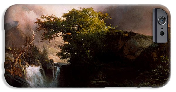 Hudson River iPhone Cases - A Mountain Stream iPhone Case by Thomas Moran