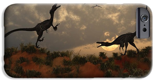 Four Animal Faces iPhone Cases - A Pair Of Velociraptors Involved iPhone Case by Mark Stevenson