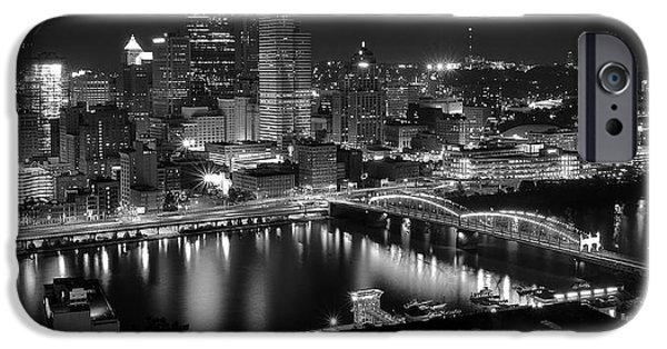Heinz Field iPhone Cases - A Pittsburgh Night iPhone Case by Frozen in Time Fine Art Photography