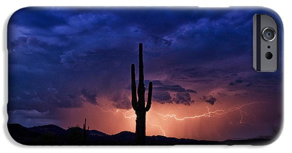 Natural Forces iPhone Cases - A Sonoran Desert Storm  iPhone Case by Saija  Lehtonen