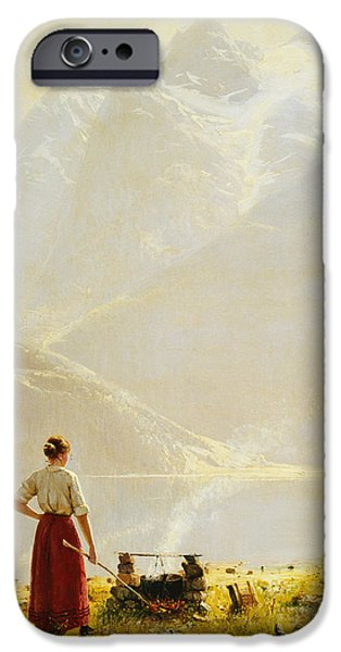 Mist Paintings iPhone Cases - A Summer Day on a Norwegian Fjord iPhone Case by Hans Dahl