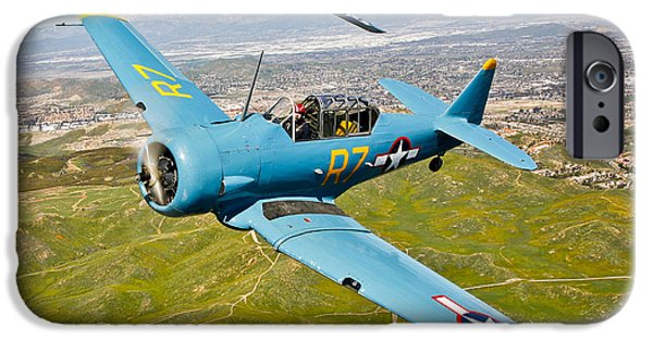 North American Aviation iPhone Cases - A T-6 Texan And P-51d Mustang In Flight iPhone Case by Scott Germain