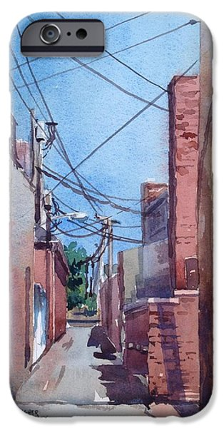 Alley Paintings iPhone Cases - A Tangle Of Wires iPhone Case by Spencer Meagher