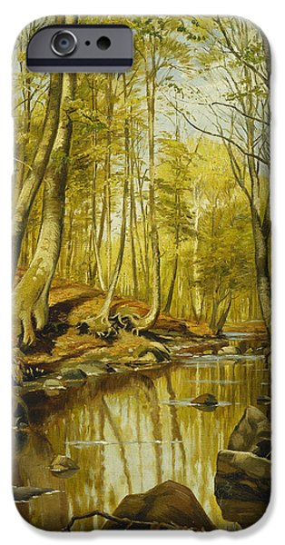 Woodlands Scene Paintings iPhone Cases - A Wooded River Landscape iPhone Case by Peder Monsted
