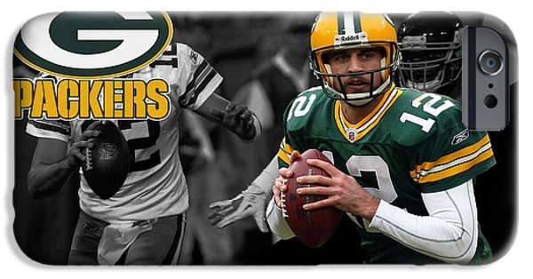 Uniform iPhone Cases - Aaron Rodgers Packers iPhone Case by Joe Hamilton