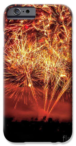 Red Fireworks iPhone Cases - Abstract Fireworks iPhone Case by Robert Bales