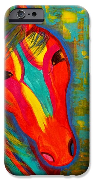 Horse iPhone Cases - Abstract Horse iPhone Case by Michele Napier-Berg