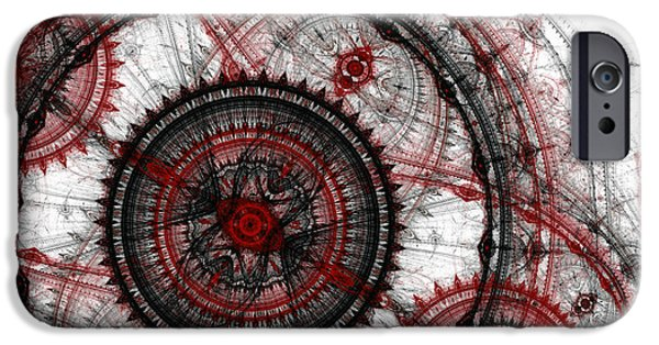 Machinery iPhone Cases - Abstract mechanical fractal iPhone Case by Martin Capek