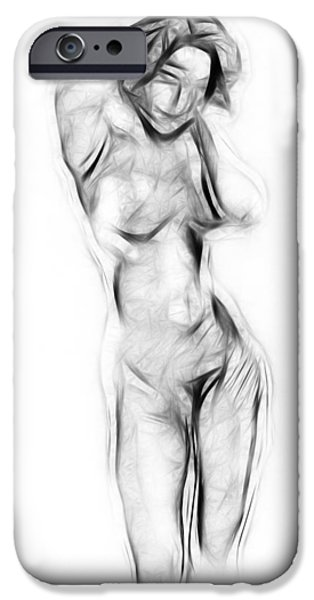 Girl iPhone Cases - Abstract Nude iPhone Case by Stefan Kuhn