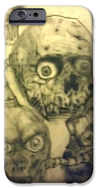 Abstract Collage Drawings iPhone Cases - Abstract Skulls iPhone Case by Charlie Mcginness