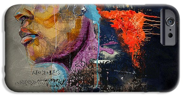 Abstract On Canvas Paintings iPhone Cases - Abstract Women 015 iPhone Case by Corporate Art Task Force