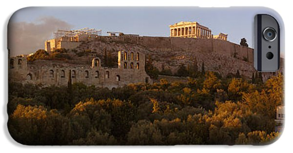 Acropolis iPhone Cases - Acropolis Of Athens At Dusk, Athens iPhone Case by Panoramic Images