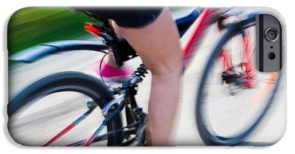 Weekend Activities iPhone Cases - Active woman on a bike iPhone Case by Michal Bednarek