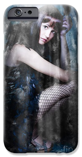 Limelight iPhone Cases - Actress In Stage Spotlight iPhone Case by Ryan Jorgensen
