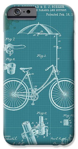Support Drawings iPhone Cases - Adjustable Bicycle Parasol and Support Patent iPhone Case by Pablo Franchi