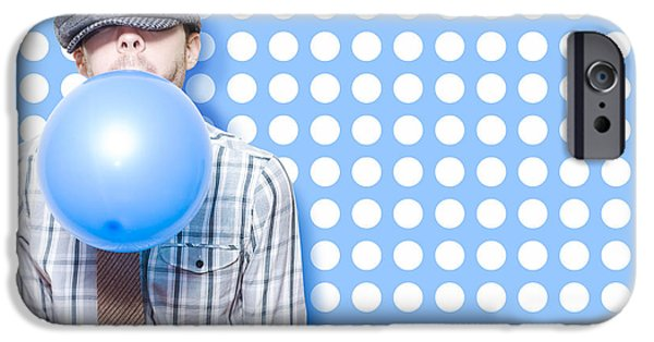 Party Invite iPhone Cases - Adorable Vintage Child Inflating Birthday Balloon iPhone Case by Ryan Jorgensen