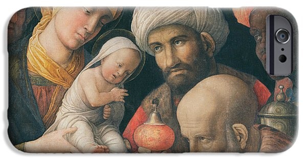 Nativity Paintings iPhone Cases - Adoration of the Magi iPhone Case by Andrea Mantegna