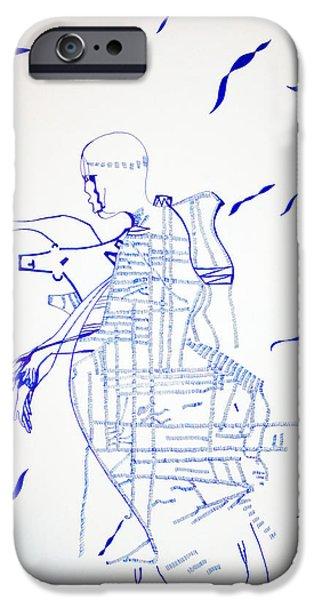 Jesus Drawings iPhone Cases - Adowa Dance - Ghana iPhone Case by Gloria Ssali