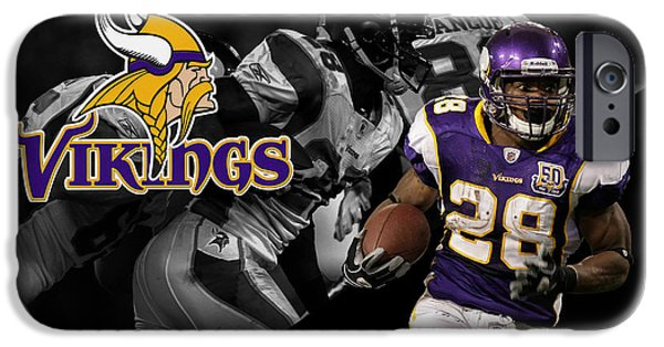 Minnesota iPhone Cases - Adrian Peterson Vikings iPhone Case by Joe Hamilton