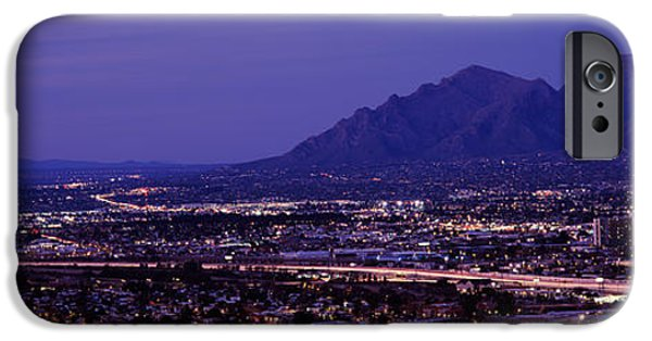 Aerial View iPhone Cases - Aerial View Of A City At Night, Tucson iPhone Case by Panoramic Images