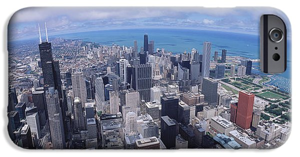 Chicago iPhone Cases - Aerial View Of A City, Chicago iPhone Case by Panoramic Images