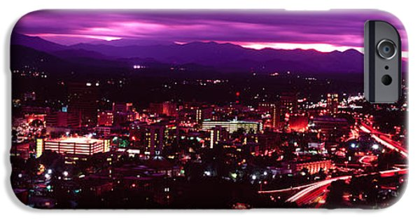 Asheville iPhone Cases - Aerial View Of A City Lit Up At Night iPhone Case by Panoramic Images