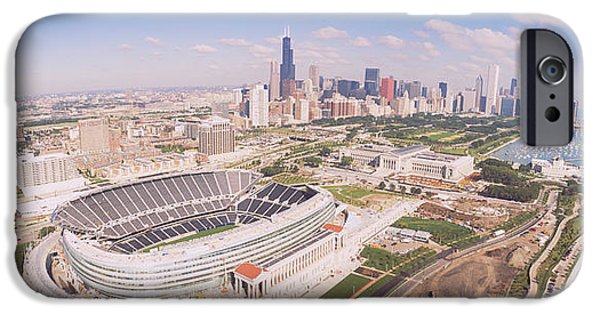 Soldier Field Photographs iPhone Cases - Aerial View Of A Stadium, Soldier iPhone Case by Panoramic Images