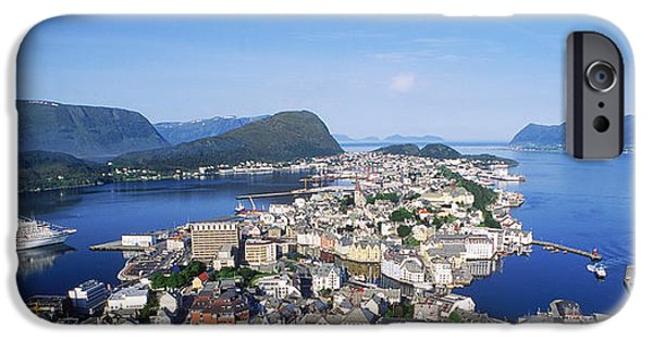 Norway iPhone Cases - Aerial View Of A Town On An Island iPhone Case by Panoramic Images