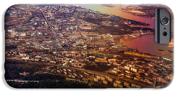Unique View iPhone Cases - Aerial View of Riga. Latvia. Rainbow Earth iPhone Case by Jenny Rainbow