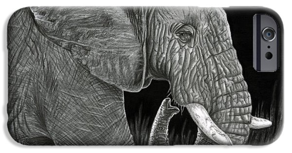African Animal Drawings iPhone Cases - Ancient iPhone Case by Sarah Batalka