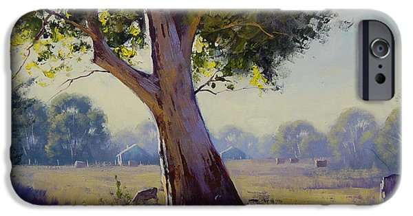 Hay Bales iPhone Cases - Afternoon Light Grazing iPhone Case by Graham Gercken