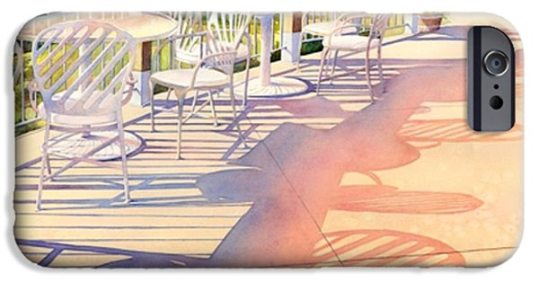 Patio Table And Chairs iPhone Cases - Afternoon Shadows at Les Bourgeois iPhone Case by Brenda Beck Fisher