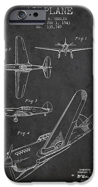 Technical iPhone Cases - Airplane patent Drawing from 1943 iPhone Case by Aged Pixel