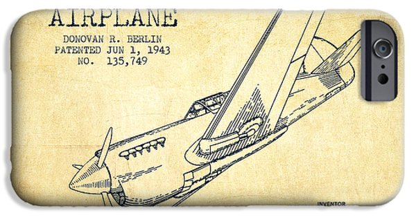 Technical iPhone Cases - Airplane patent Drawing from 1943-Vintage iPhone Case by Aged Pixel