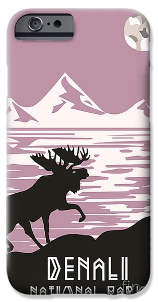 Vale iPhone Cases - Alaska Denali National Park Poster iPhone Case by Celestial Images