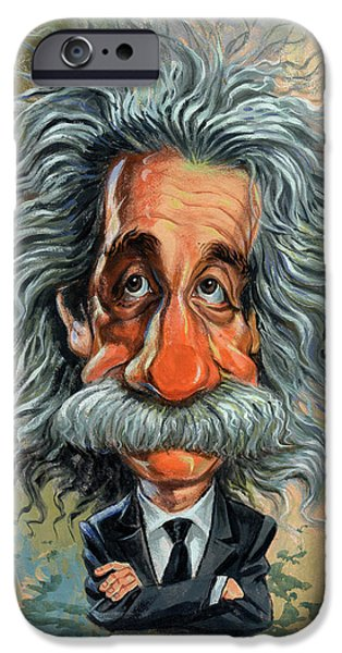 Celebrities Art Paintings iPhone Cases - Albert Einstein iPhone Case by Art